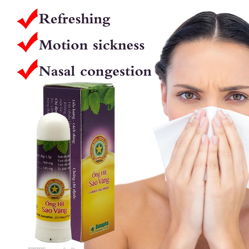 Golden Star Herbal Nasal Inhaler Stick Mint Cylinder Treament Asthma Nasal Congestion Headache Refreshing Aroma Stick Inhaler