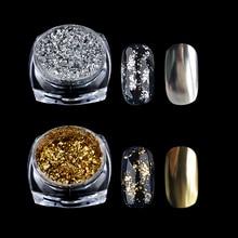 1 Caixa De Ouro Prata Glitter Flocos de Alumínio Espelho Mágico Efeito Pós Lantejoulas Decorações de Unhas de Gel Polonês Chrome Pigmento
