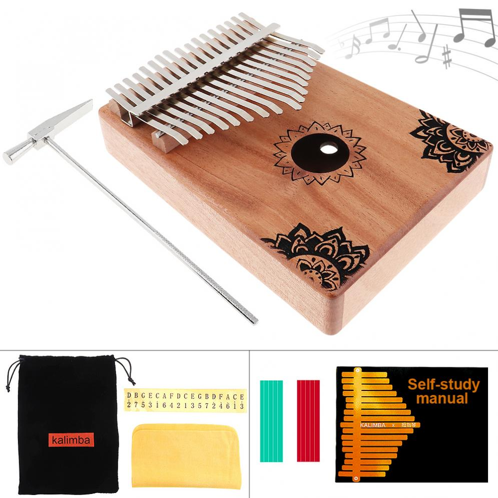 17 Key Kalimba Finger Piano Solid Mahogany Thumb Piano With Flowers Pattern Mbira Natural Mini Keyboard Musical Instrument