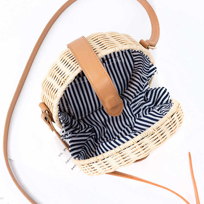 Новые летние для женщин соломенная сумка богемный ротанговая Пальма Бали пляжная небольшой круг леди Винтаж Crossbody ручной работы Kintted сумки на плечо