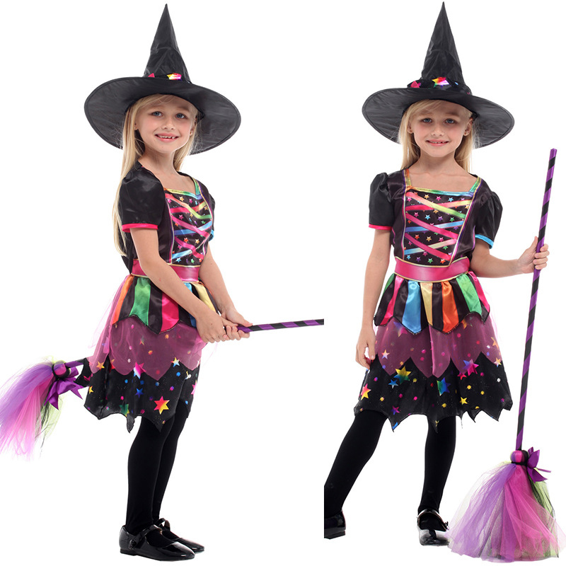 High quality children's Halloween cosplay playing clothes children's anime magic witch clothes girls' pettiskirt witch costumes