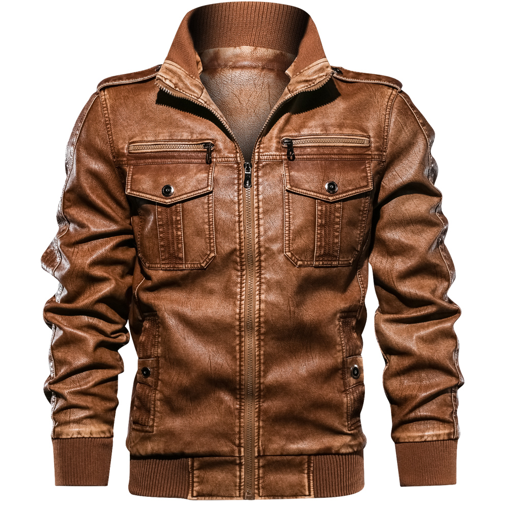 2019 brand clothing Autumn slim fit Men s leather jacket and coat faux PU leather biker