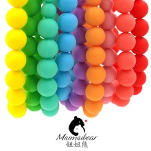 Baby silicone teether necklace fully rainbow bead necklace chewable baby wearing