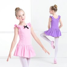 Girls Gymnastic Dress Children Satin Bow Ballet Dancing Costumes Kids Floral Sleeve Skirt Dance