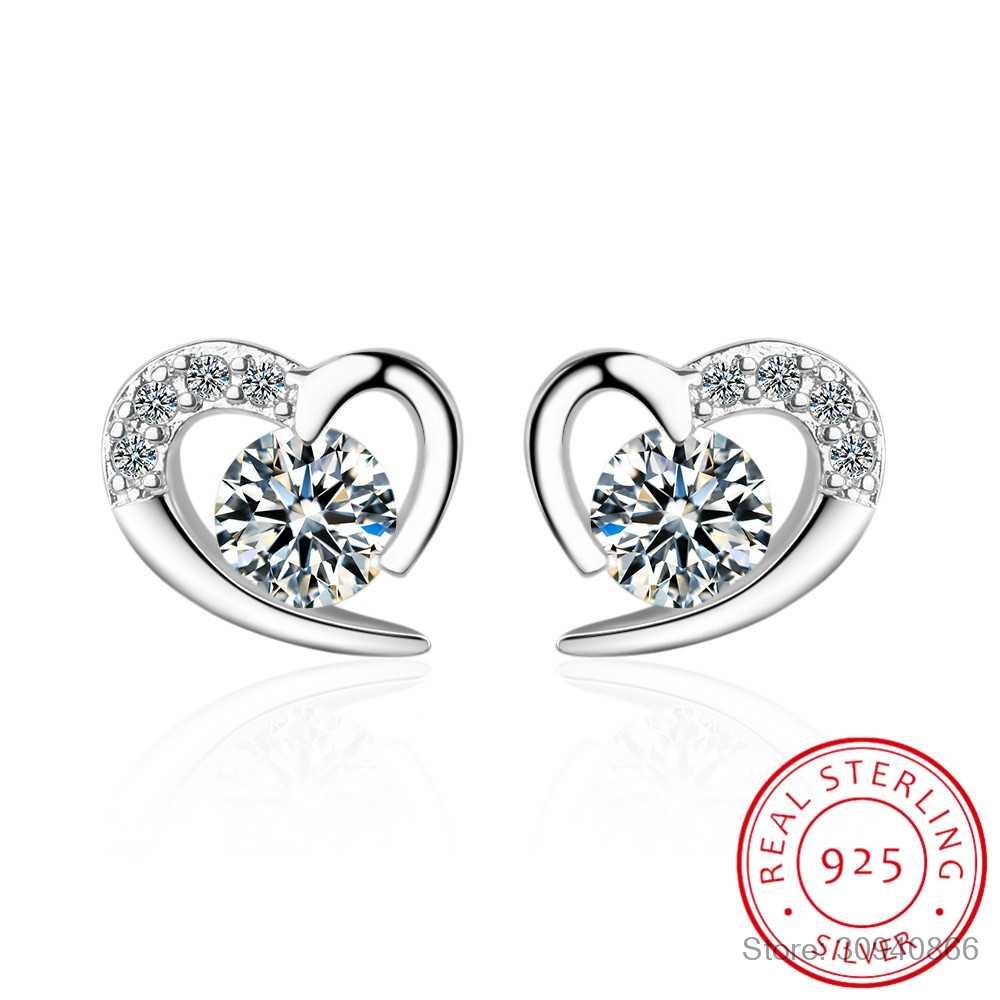 Zarte Liebe 925 Sterling Silber Ohrringe Für Frauen Edlen Schmuck Dazzling CZ Herz Stud Ohrringe pendientes ohrringe S-E477