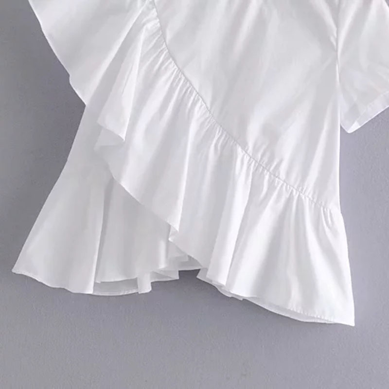 Summer Women Short Sleeve Solid Shirt Casual Slim Wlid Female Ruffles O Neck Shirts Spring Fashion Ladies Tops Shirt in Blouses amp Shirts from Women 39 s Clothing
