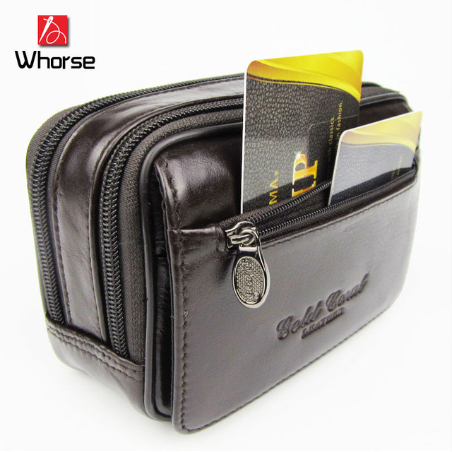 Caliente de la Alta Calidad 100% del Cuero Genuino de Viaje Pasaporte Paquetes de La Cintura Doble Cremallera Cinturón Carteras Bolsos Monedero WA71252