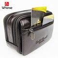 Hot Alta Qualidade 100% Couro Genuíno Cinto Travel Money Passaporte Cintura Packs Cintura Duplo Zíper Carteiras Bolsas Bolsa WA71252
