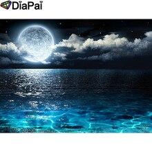 """DIAPAI полная квадратная/круглая дрель 5D DIY Алмазная картина """"Лунный морской пейзаж"""" Алмазная вышивка крестиком 3D декор A18522"""