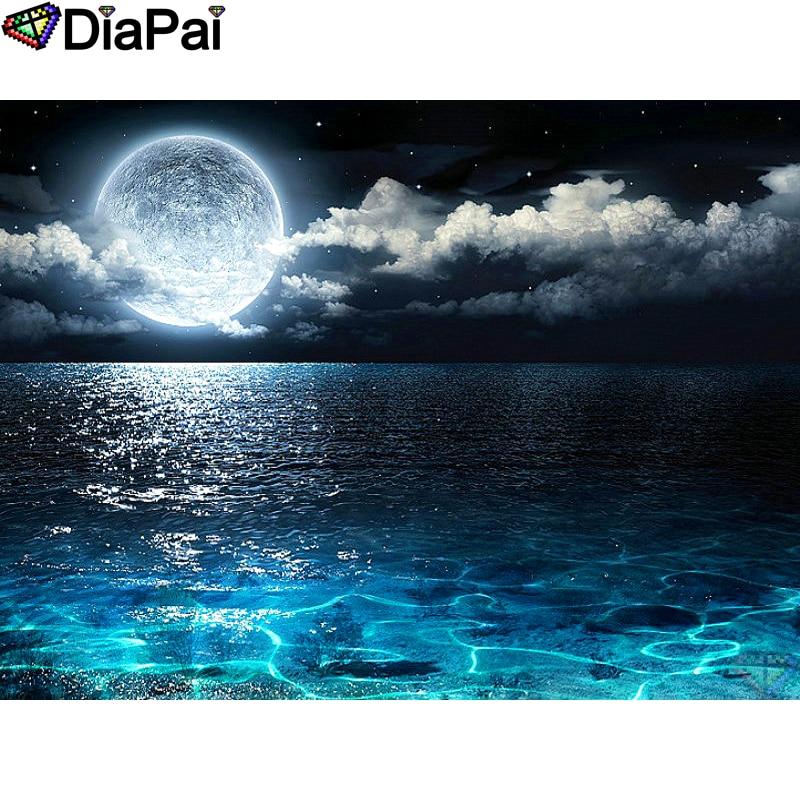 5D DIY Full Drill Round Diamond Painting Moon Night Cross Stitch Craft Kits