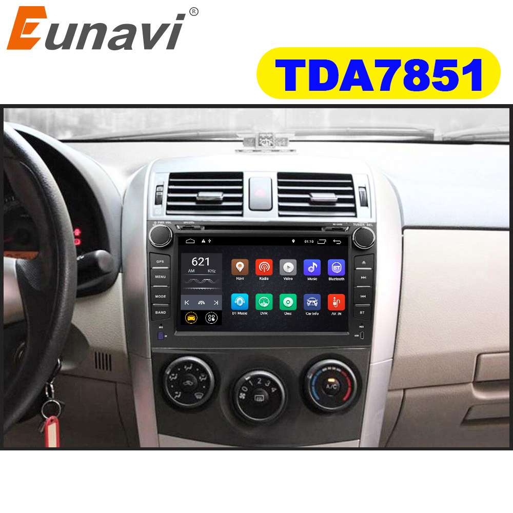 Eunavi 2 din TDA7851 Android 8,0 de 8,1 reproductor de dvd del coche gps para Toyota Corolla 2007 a 2008, 2009, 2010, 2011, 8