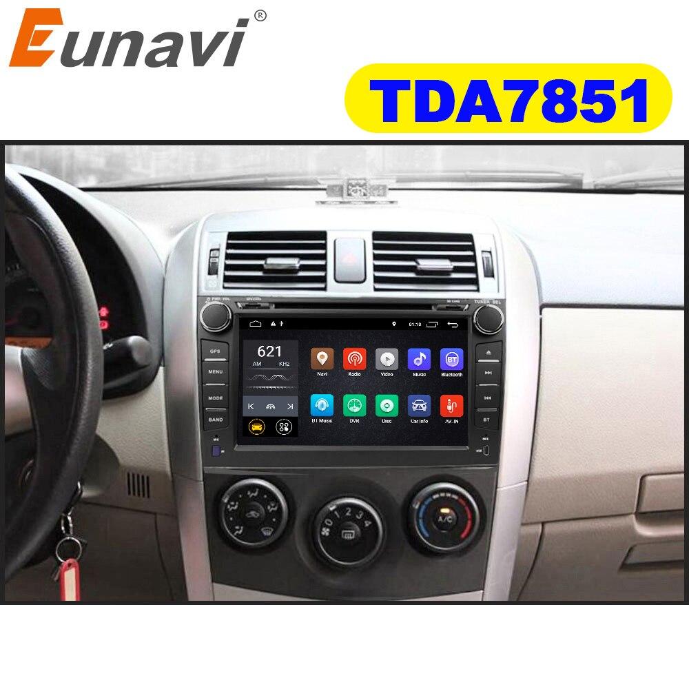 Eunavi TDA7851 2 din Android 9.1 dvd do carro para Toyota Corolla 2007 2008 2009 2010 2011 ''GPS estéreo 8 rádio tela de toque 1024*600