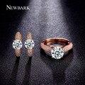 Conjuntos de jóias de casamento rosa banhado a ouro brincos de argola newbark e 2 carat corte redondo cz anéis para as mulheres conjunto de jóias