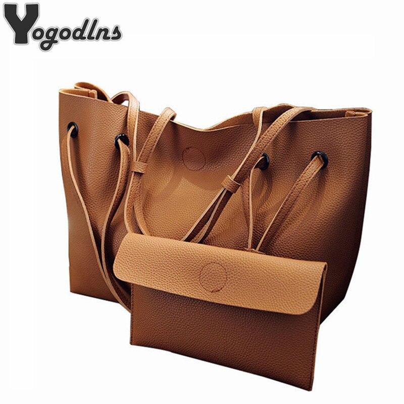 Soft Leather Women Bag Set Luxury Brand 2019 Fashion Designer Female Shoulder Bags Big Casual Bags Set Handbag High Quality