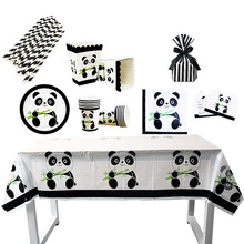 Panda Disposable Tableware Cups Baby Shower Straws Birthday Party Decorations Kids Favors Set