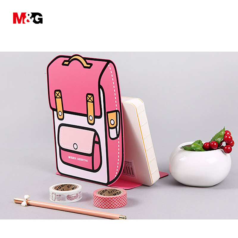 M&G new arrive kawaii metal bookends for school supplies cute cartoon bag shape book holder support quality office stationery