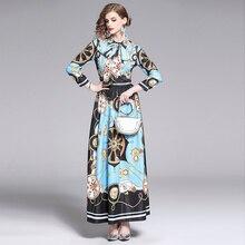 Banulin Fashion Luxious Print Long Dress 2019 Women Autumn Summer Turn Down Neck Elegant Bow Runway Ladies Maxi Dress Vestidos цена и фото