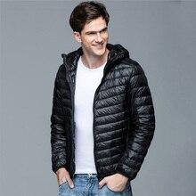 Мужское зимнее пальто, новая мода, с капюшоном, 90% белый утиный пух, куртки размера плюс, Сверхлегкий пуховик, портативная тонкая пуховая парка 4XL 5XL 6XL