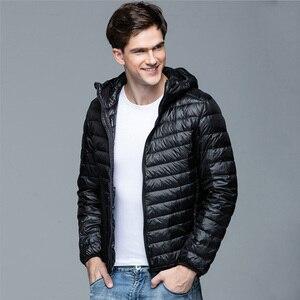 Image 1 - Men Winter Coat Fashion Hooded 90% White Duck Down Jackets Plus Size Ultralight Down Coat Portable Slim Down Parkas 4XL 5XL 6XL