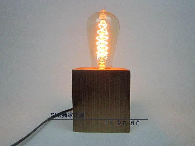 ФОТО Vintage Industrial Retro Style Single Socket Table Bedside Desk Lamp Wooden BaseTable Lamp Light  for bedroom iron plumbing pipe