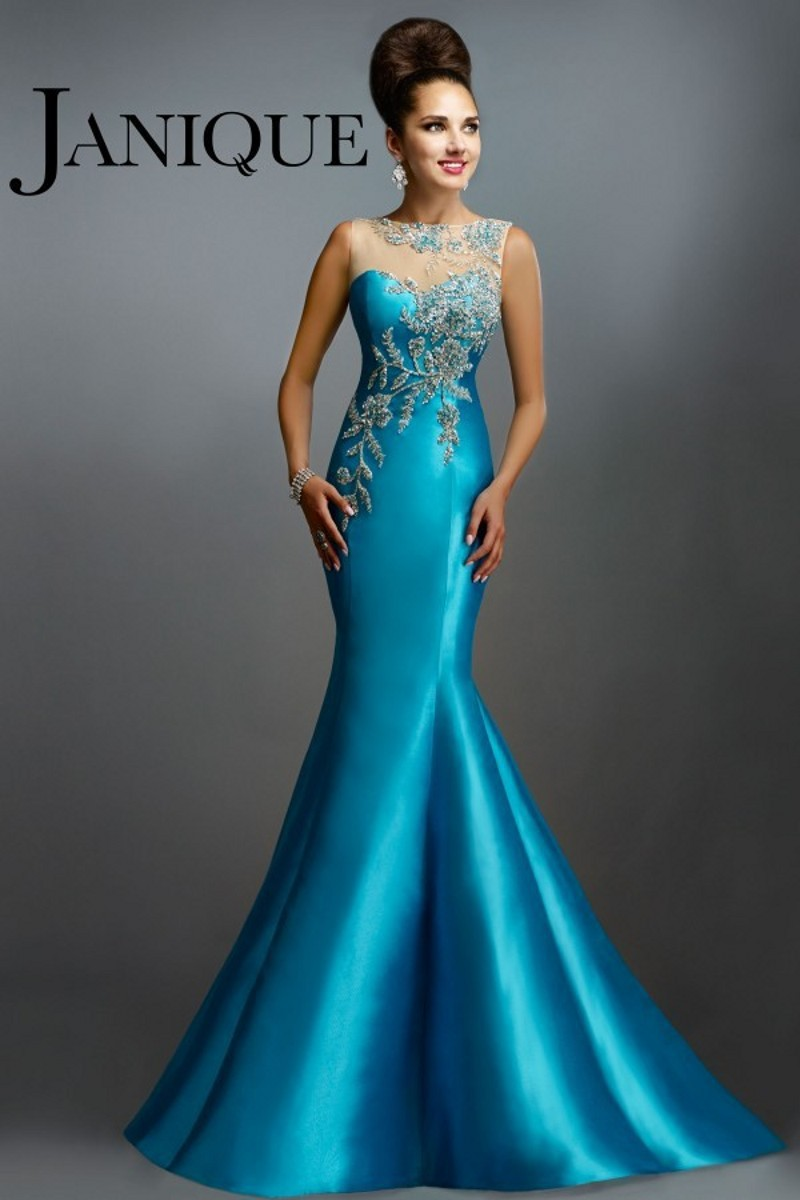 2016 Turquoise Blue Evening Dress Inspired by JANIQUE Sexy