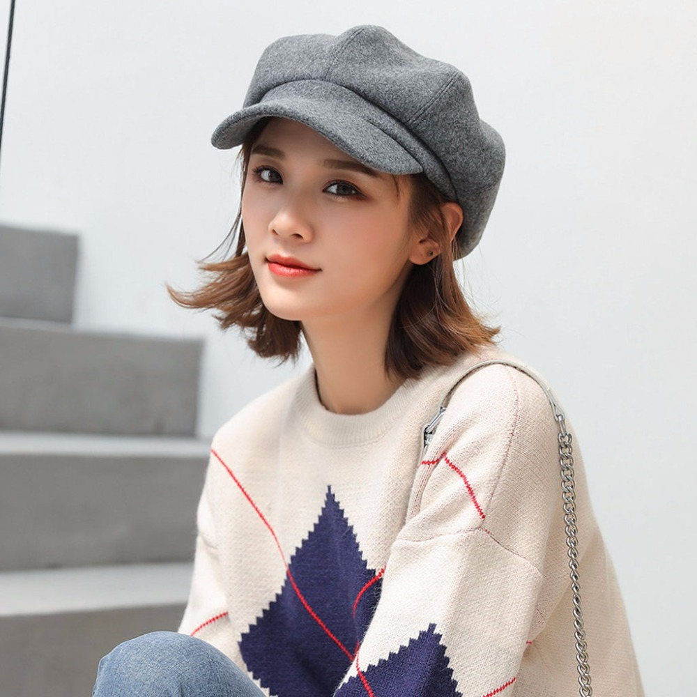 Solid Colors Women Beret Femme Newsboy Hat Stylish Painter Octagonal Cap Top Sale for Women Spring Autumn Beret Hat in Women 39 s Berets from Apparel Accessories