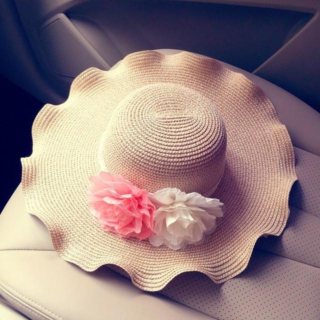 Wave  sun hat Large brimmed sun hat Summer beach hat Lady flower bow hat