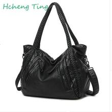 2017 New Quality Washed Leather Bag Large Capacity Women Handbag Knitting Lady Shoulder Bag Big Black Hobo Female Cross body Bag
