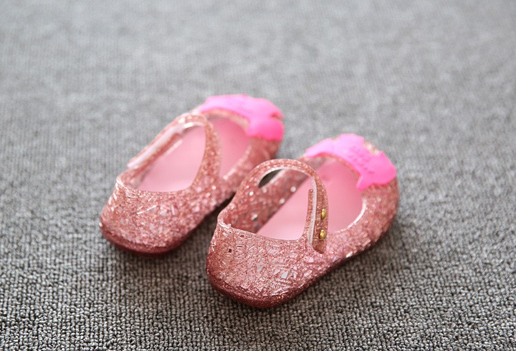 17 new fashion girls shoes Bow jelly sandals female child soft outsole princess shoes open toe shoes kids sandals baby shoes 15