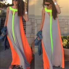 2019 Summer Maxi Dress Women Sleeveless Contrast Color Casual Baggy Beach Party Long Dresses Vestido De Festa Plus Size