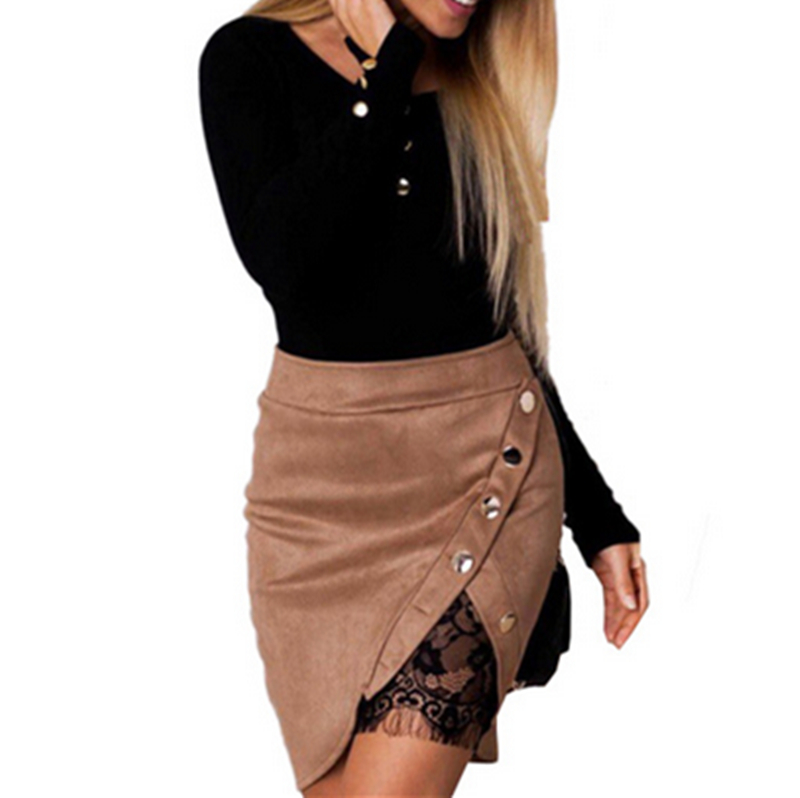 New fashion Women Ladies High Waist Pencil Skirts button lace patchwork sexy Bodycon Suede Leather split party casual Mini Skirt 35