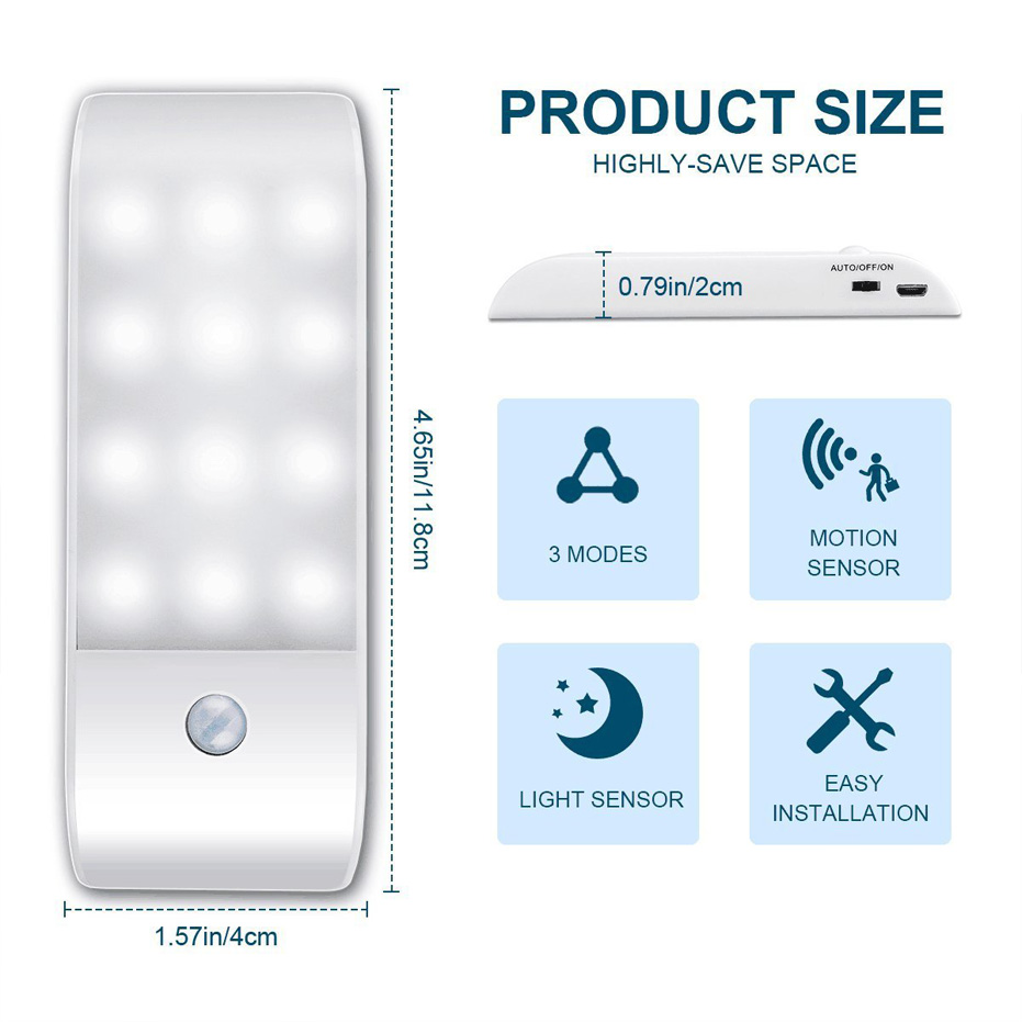 Under Cabinet Lights Kitchen Lighting IR Motion Sensor 12LEDS smd5730 Night Lights USB Chargeable Stair Light Closet Lamp 3