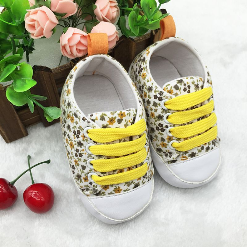 Newborn Toddler Baby Floral Soft Sole Crib Shoes Girl Lace Up Cotton Shoes 0-18M Wholesale