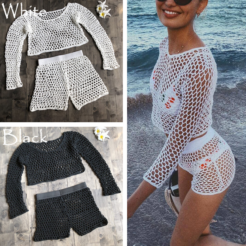 Swimsuit Female Bikini Crochet Beach Split Swimsuit Fishnet Hollow Out Mesh Bikini Cover Up Long Sleeve Beachwear