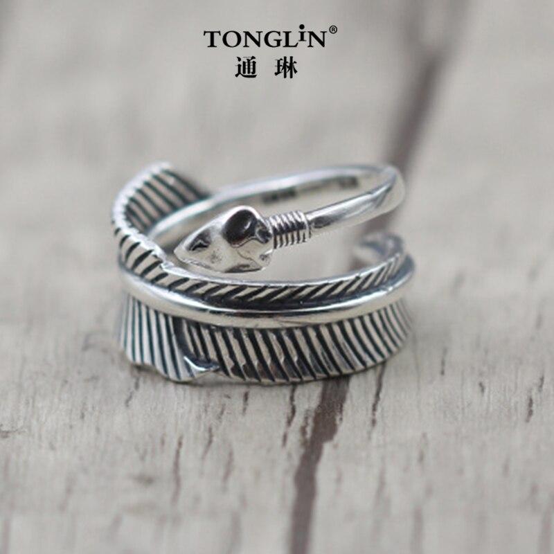 Tonglin thai argent plume et flèche vintage anneau style punk hommes femmes bijoux accessoires