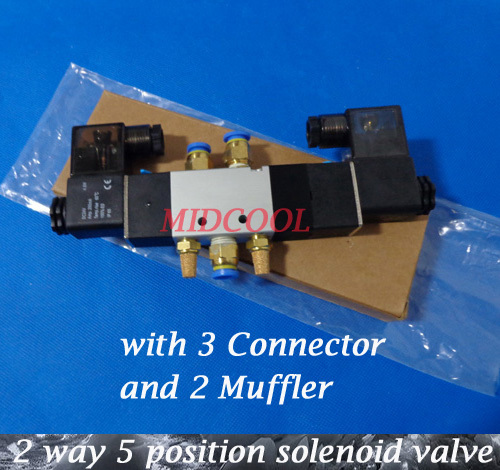 Solenoide Valvula 4V220-06,24V DC Boutique Solenoid Valve,5/2 way double coil solenoid valve with 3 connector and 2 muffler kq2zs10 01s kq2zs10 01s fittings kq2zs10 01s pipe joint