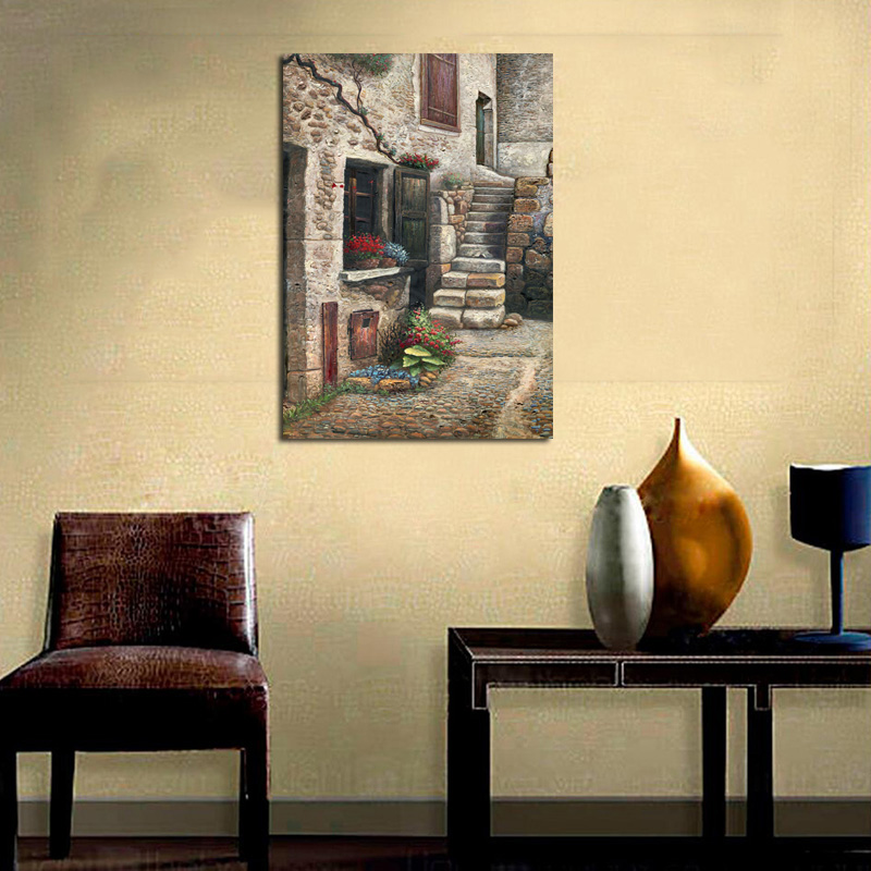 GenDi Home Decor Oil Painting Europe Rock House Canvas Printed Stone ...