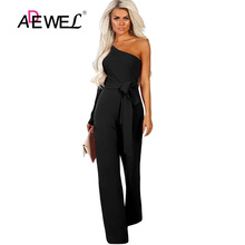ADEWEL Casual Long Sleeve Loose High Waist Jumpsuits Womens One Shoulder Wide Leg Slanted Belted Jumpsuit Female Rompers