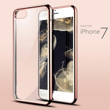 iPh 7 Luxury Transparent Clear Silicone Case For iPhone 7 Bling TPU Gilded Gold Plating Hybrid