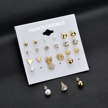 LUSION Super Value Exquisite Design Simple Stud Earring Fashion OL Pearl Heart Triangle Charm Cheap Earring Sets Women 12Pair