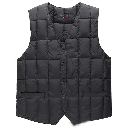 Goose Down Vest Waistcoat Men Winter 2016 Cotton Blazer Suit Vest  Warm Fashion Inside and Outside Down Vest Men Black