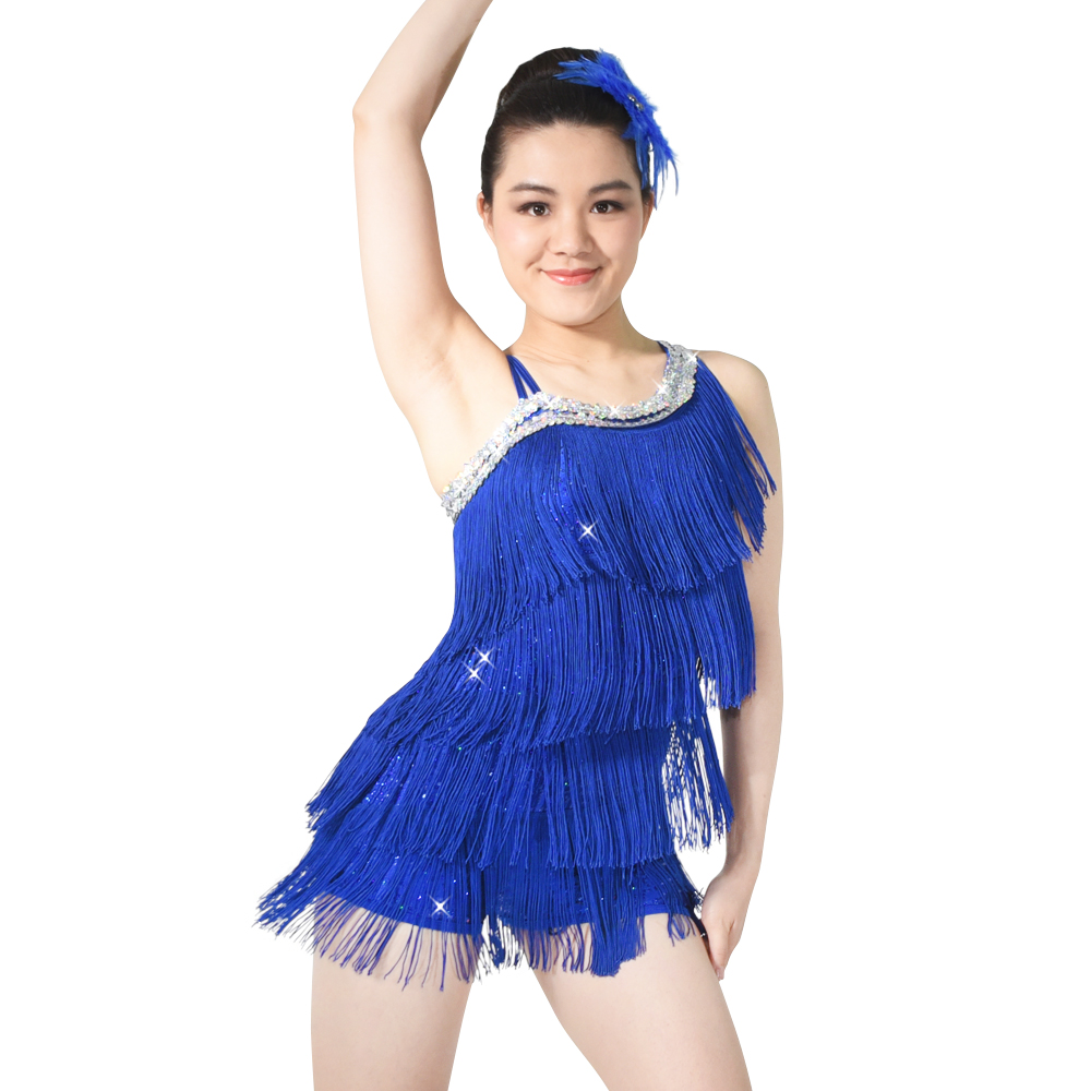 Diagonal-neck Sequin leotard With Tassle Skirt Royal Blue Latin Dress Dance Costume For Women