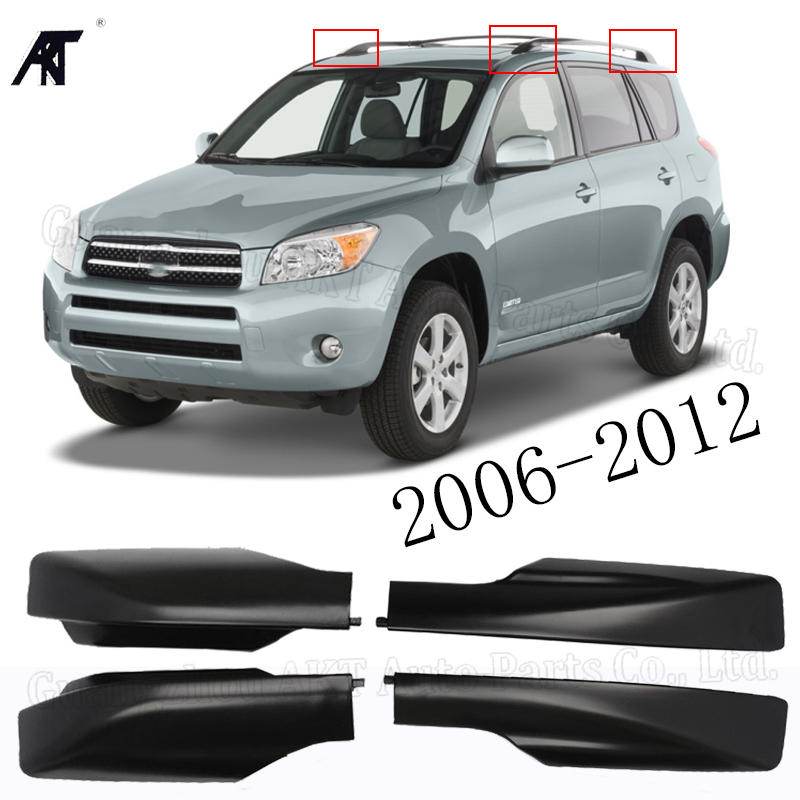 Roof rack cover roof bar end shell for:Toyota RAV4 RAV 4 XA30 2006 2007 2008 2009 2010 2011 2012 black color 4PCS/LOT image
