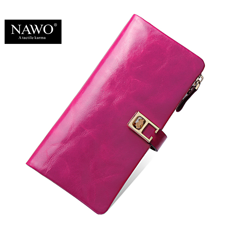 NAWO New Oil Wax Leather Women Wallets New Fashion Ladies Clutch Purse Long Coin Purse Genuine Leather Card Holder Wallet Luxury art ежедневник твори работай отдыхай