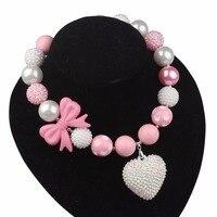 Słodka Mała Księżniczka Naszyjnik Różowy Bowknot Koraliki Imitacja Perły Kryształowe Serce Wisiorek Naszyjniki Dla Kobiet X15