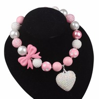 Sweet Little Princess Necklace Pink Bowknot Beads Imitation Pearls Crystal Heart Pendant Necklaces For Women X15