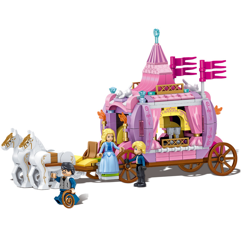 Cinderella Princess Royal Carriage Building Blocks Princess Figures Legoings Friends Blocks Bricks Model Toys Girls Gift YF 30