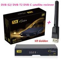 V8 Golden DVB-S2/ DVB-T2 DVB-C Receptor satellite Receiver Support Europe cccam Cline 1 USB WIFI set top box