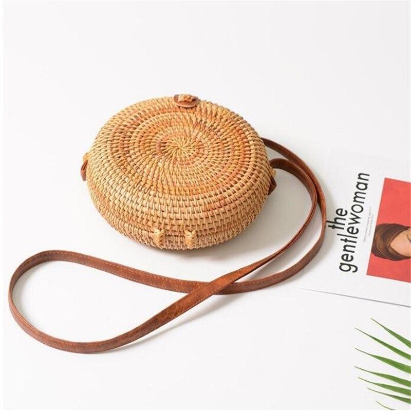 Fashion Women Summer Rattan Bags Round Square Straw Bag Handmade Woven Beach Crossbody Bags Circle Bohemia Bali Handbags