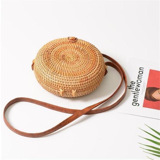 Fashion Women Summer Rattan Bags Round Square Straw Bag Handmade Woven Beach Crossbody Bags Circle Bohemia Bali Handbags 1